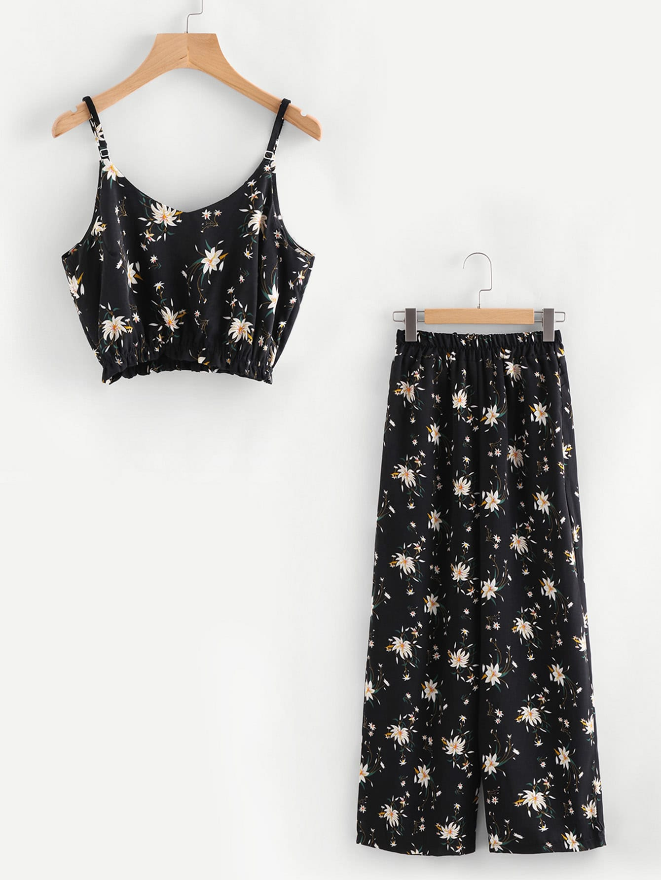 Calico Print Crop Cami Top With Wide Leg Pants