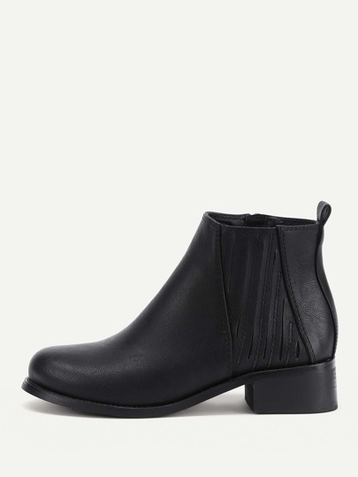 Side Zipper PU Ankle Boots