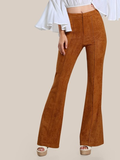 High Waisted Suede Bell Bottom Flare Pants RUST