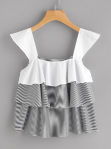 Contrast Tiered Frill Striped Top