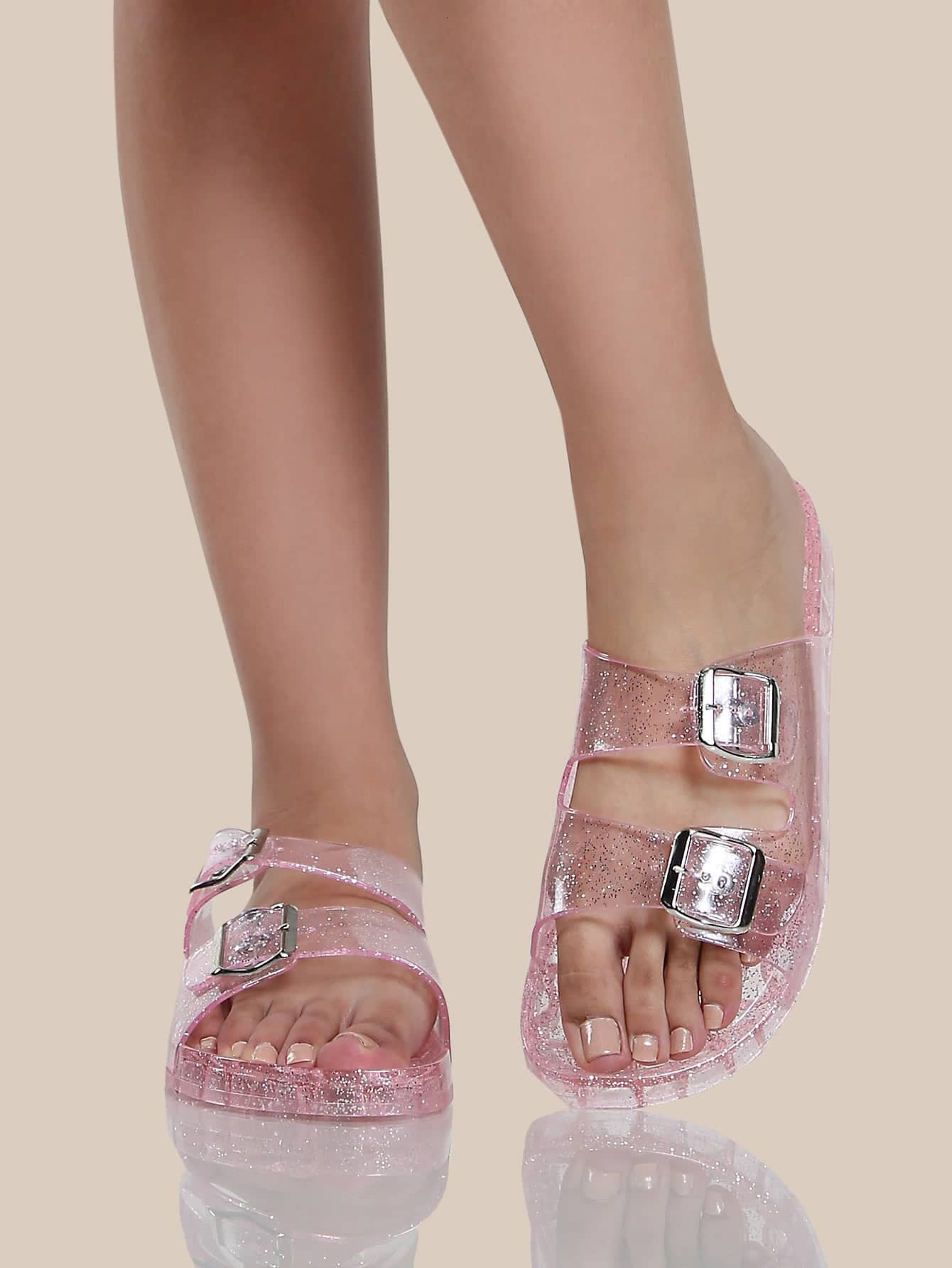 Jelly Duo Buckle Sandals Clear Makemechic Com