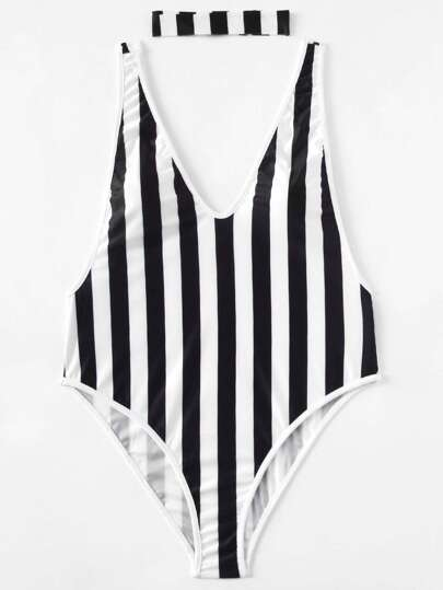 Block Striped Drop Arm Plunge Swimsuit With Choker