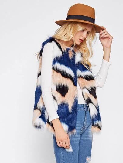 Colorful Faux Fur Vest