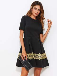 Floral Lace Applique Boxed Pleated Fit & Flare Dress