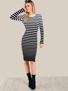 Striped Ribbed Bodycon Dress WHITE BLACK