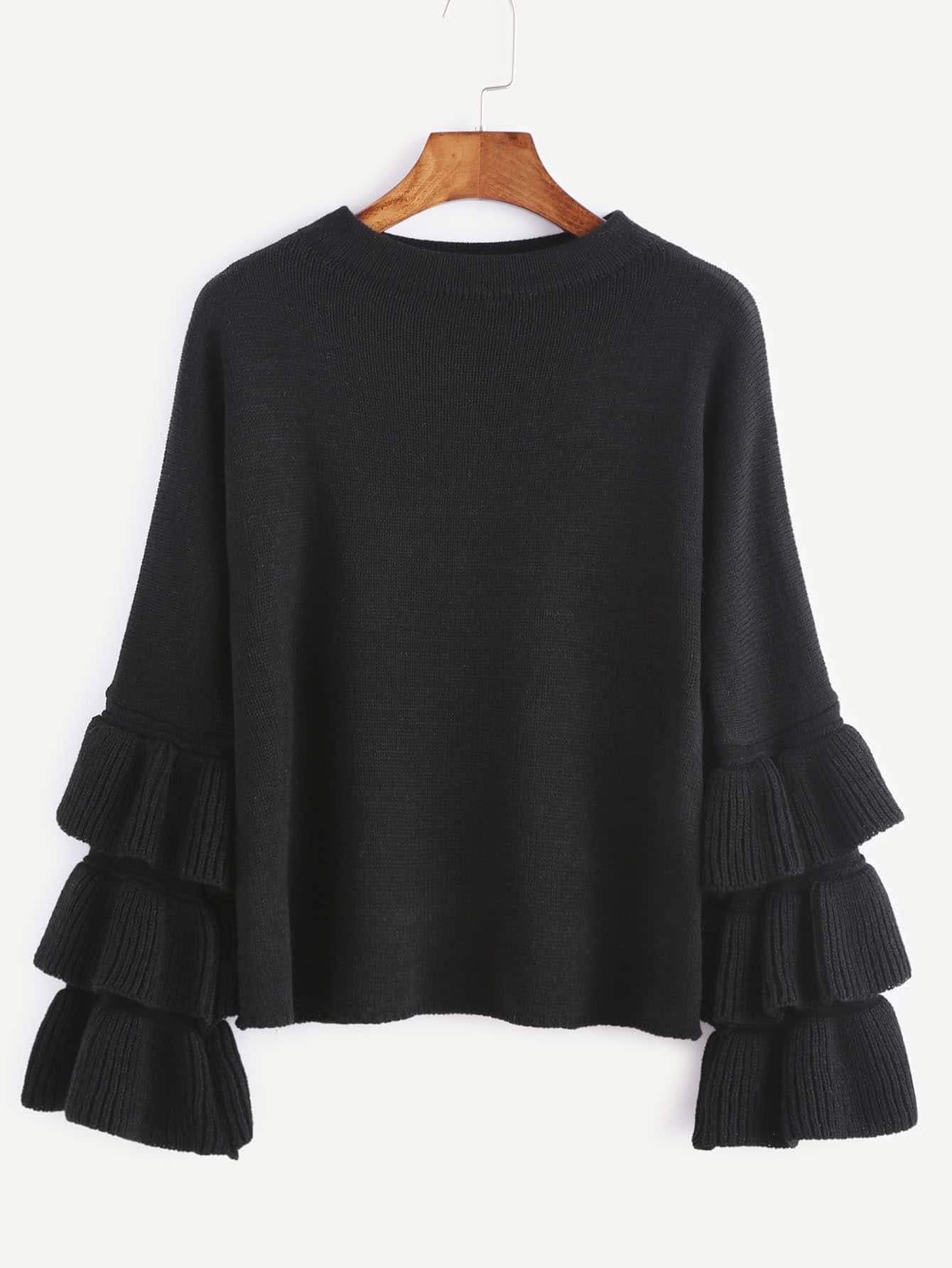 Black Layered Ruffle Sleeve Pullover Sweater