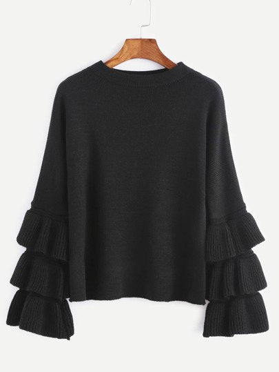 Black Layered Ruffle Sleeve Pullover Sweater