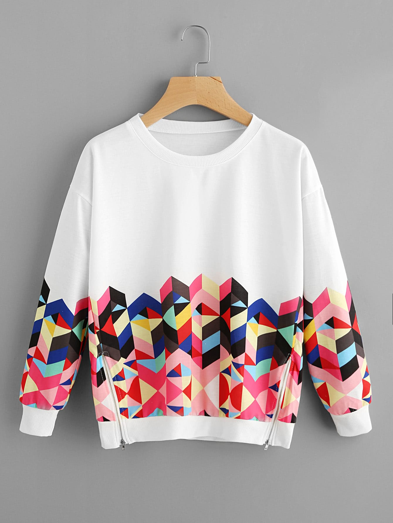 Geo Print Zipper Side Drop Shoulder Sweatshirt drop shoulder frill hem batwing sweatshirt