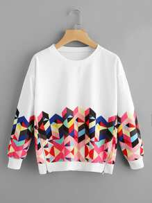 Geo Print Zipper Side Drop Shoulder Sweatshirt
