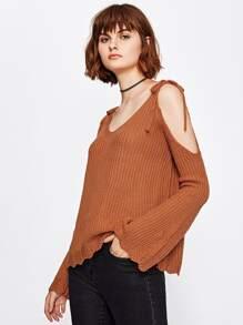 Sweater épaules dénudées découpé avec lacets