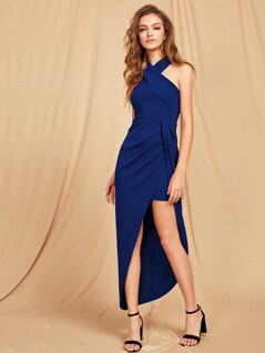 Crisscross Halterneck Asymmetry Split Maxi Dress