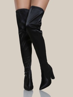 Satin Thigh High Boots BLACK
