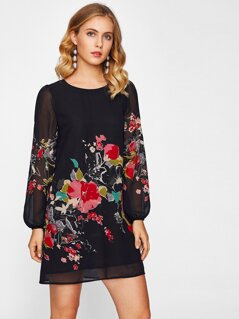Lantern Sleeve Floral Print Dress