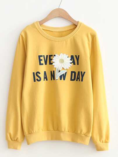 Flower Patch & Slogan Print Sweatshirt