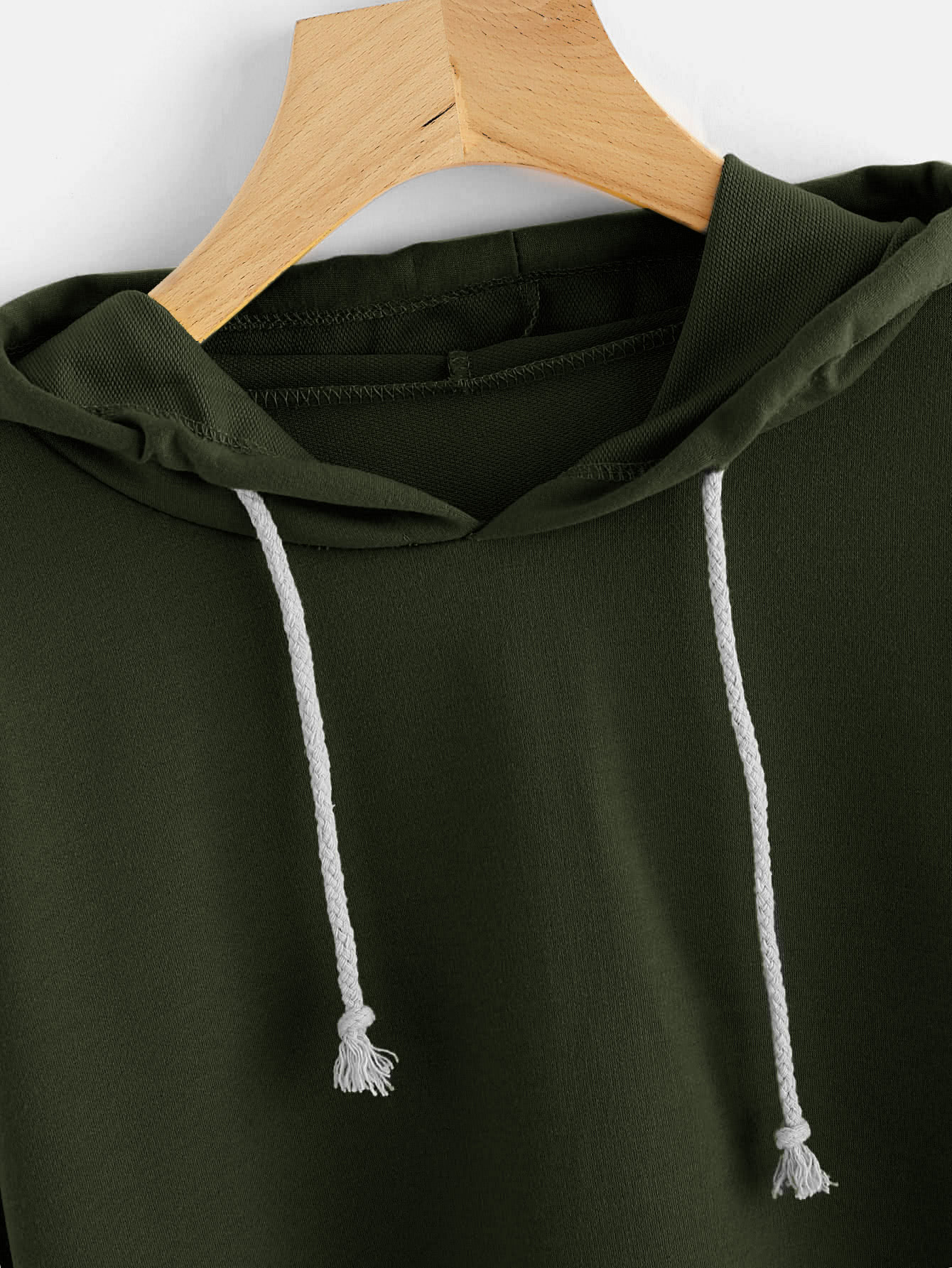 Hooded Drawstring Crop Sweatshirt
