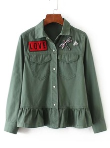 Rhinestone Dragonfly Slogan Patch Peplum Jacket