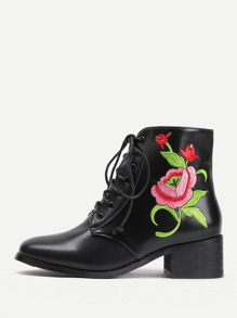 Flower Embroidery Lace Up Faux Leather Boots