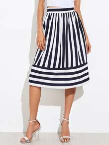 Mixed Striped Volume Skirt