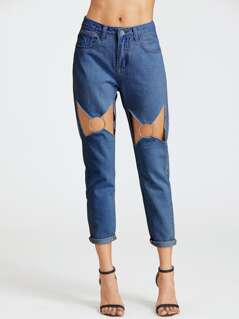 Cutout O-Ring Detail Jeans