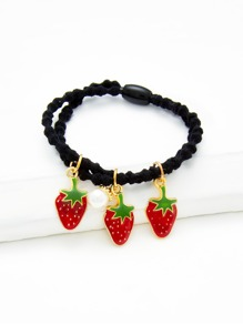 Strawberry & Faux Pearl Charm Hair Tie