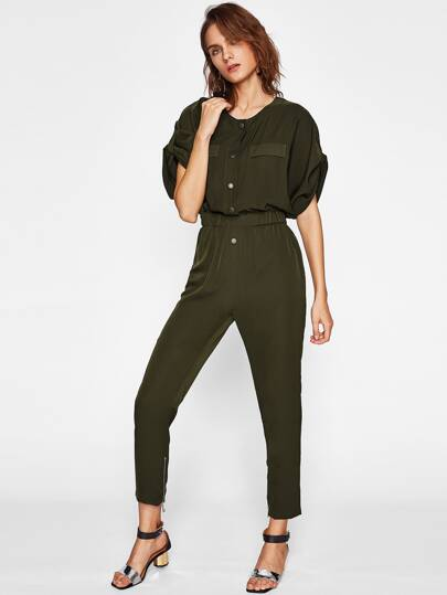 Puff Sleeve Shirred Waist Jumpsuit