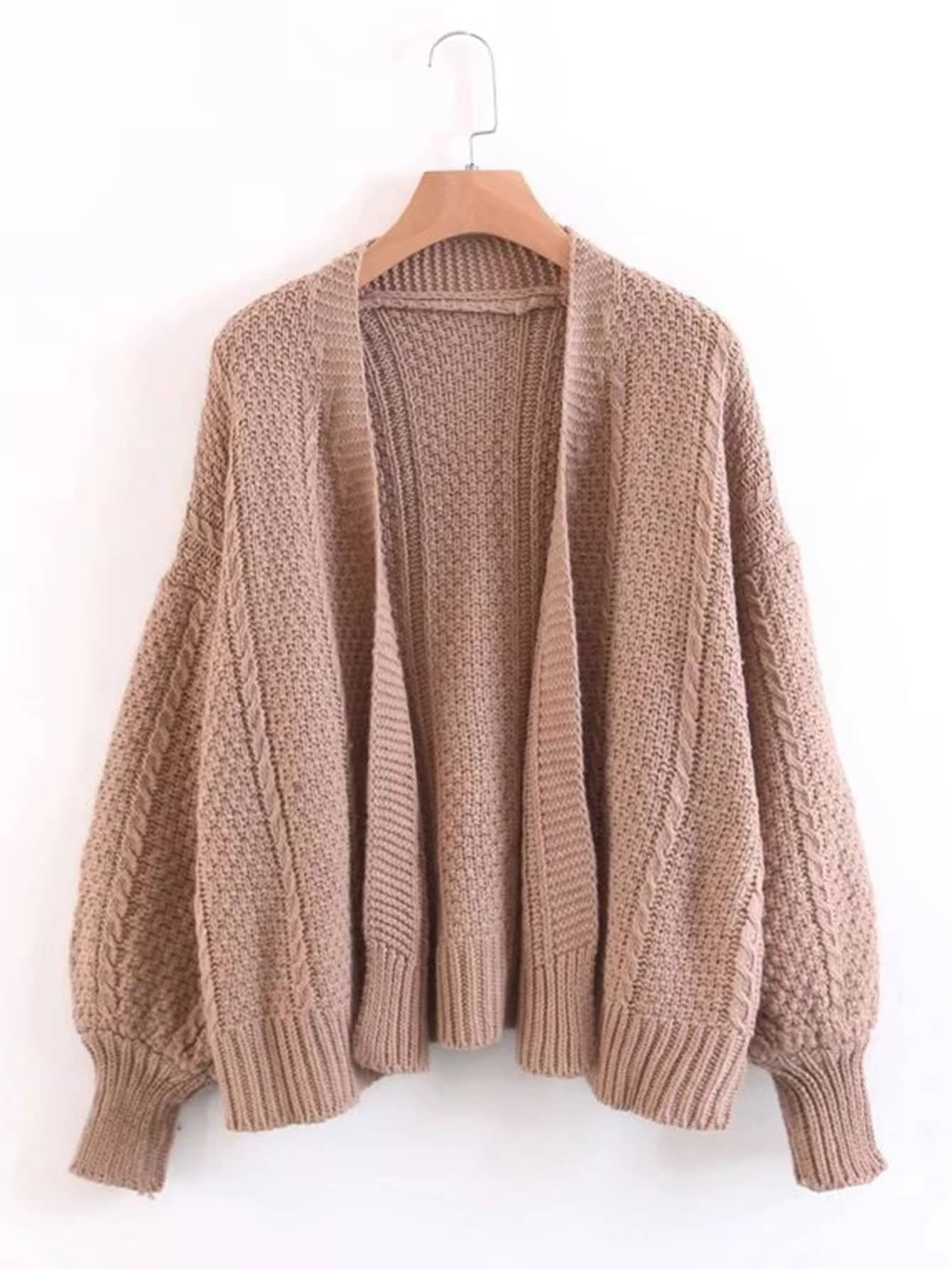 Cable Knit Open Front Sweater Coat -SheIn(Sheinside)