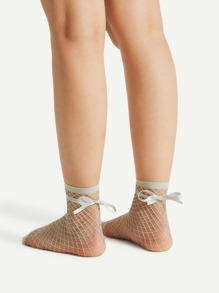 Bow Tie Fishnet Ankle Socks