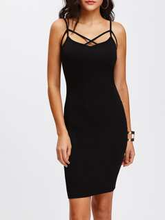 Crisscross Front Strappy Cami Skinny Dress