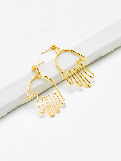 Hollow Palm Shaped Drop Earrings