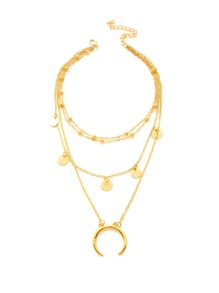 Moon Pendant Layered Chain Necklace With Sequin