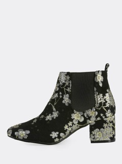 Floral Print Stitched Booties BLACK