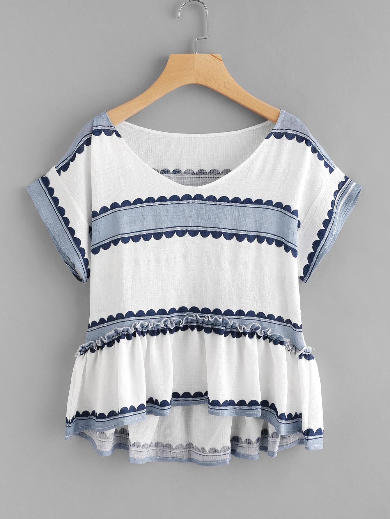 Contrast Print Frill Hem Blouse contrast striped knotted hem frill blouse