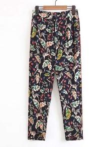 Zebra & Jungle Print Button Fly Pants