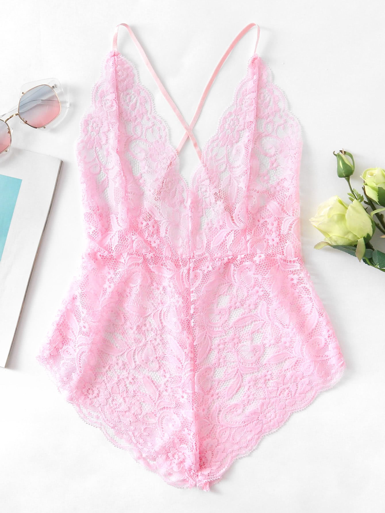 Scalloped Trim Criss Cross Lace Bodysuit criss cross lace up bodysuit