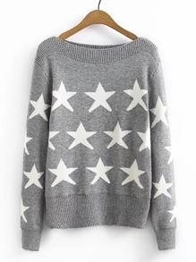Sweater col bateau à motif des étoiles