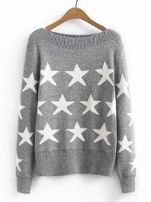 Star Pattern Boat Neck Sweater