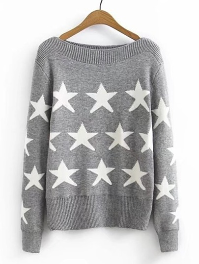 Star Pattern Boat Neck Sweater