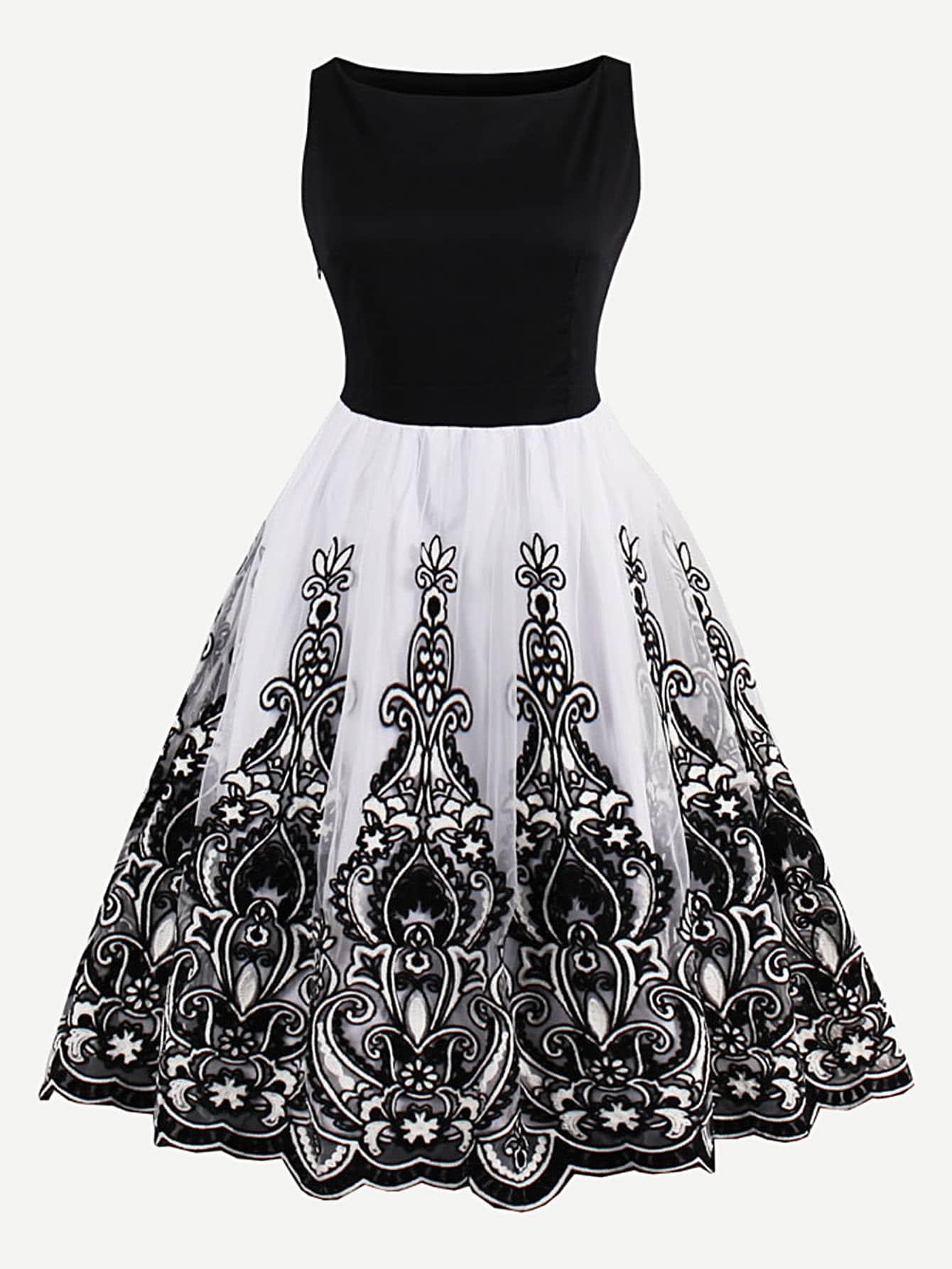 Купить Модное платье с сетчатой вставкой и цветочной вышивкой, null, SheIn