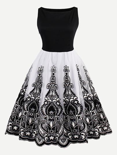 Flower Embroidered Mesh Overlay Combo Dress