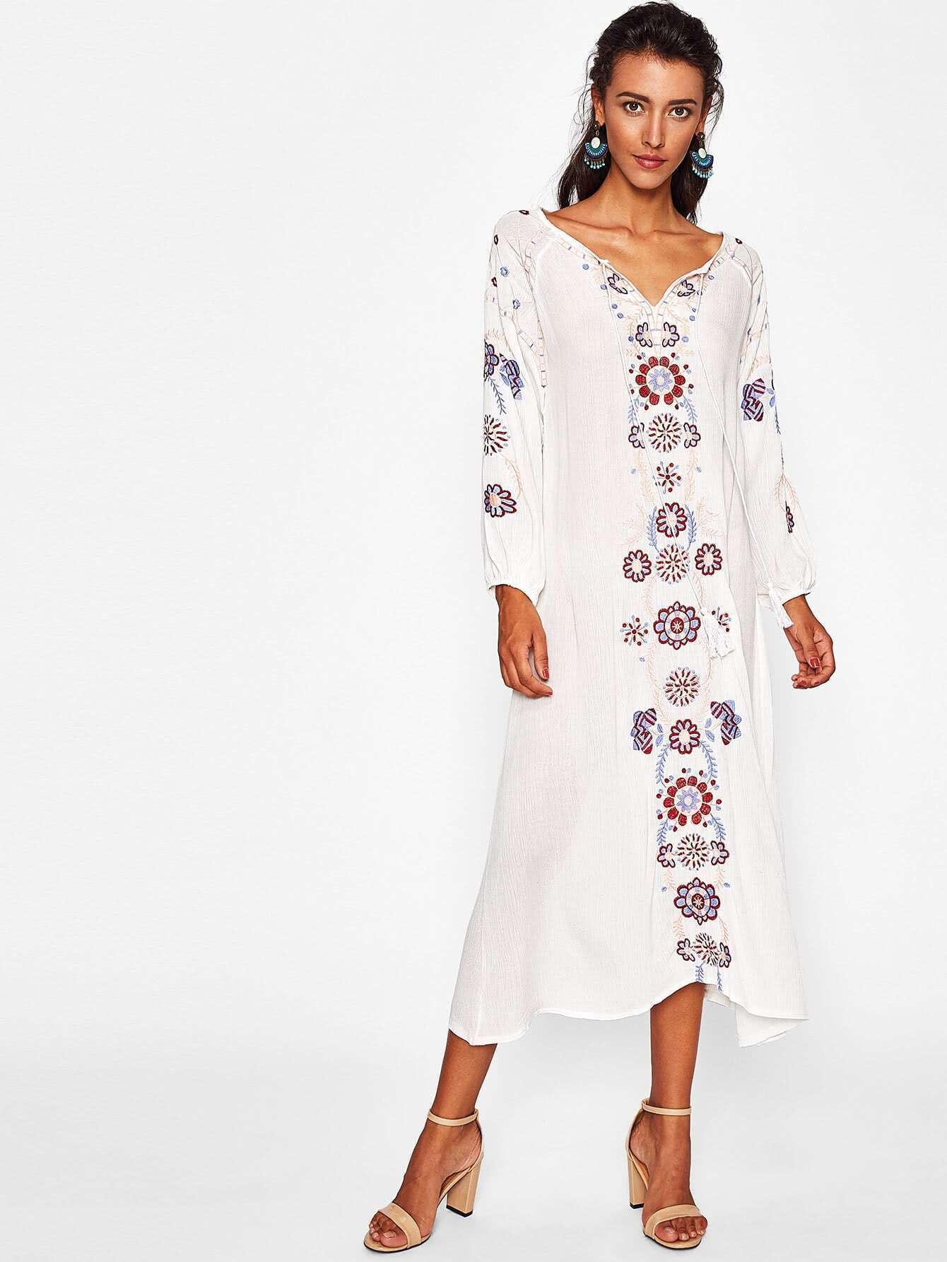 Botanical Embroidered Self Tie Neckline Dress
