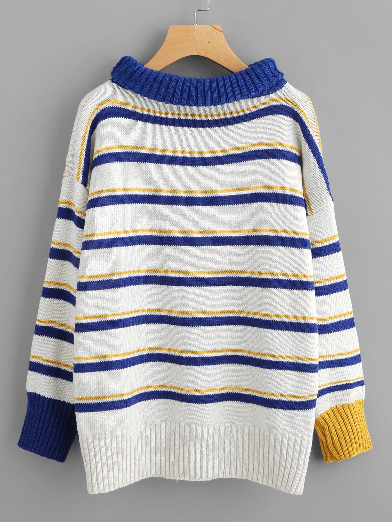 Contrast Trim Drop Shoulder Striped Sweater -SheIn(Sheinside)