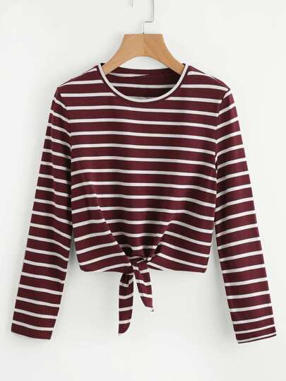 Tie Front Striped Tee