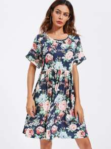 Flower Print Roll Cuff Smock Tee Dress