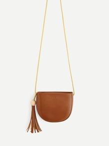 Tassel Detail Saddle Crossbody Bag
