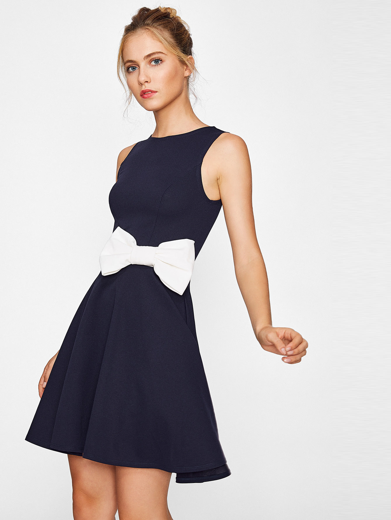 Contrast Bow Embellished Fit & Flare Dress contrast fit and flare embroidered mesh dress