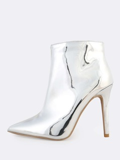 Metallic Point Toe Heeled Boots SILVER