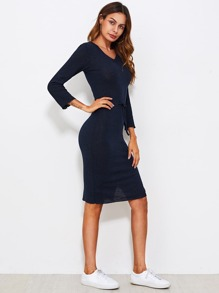 V-neckline Side Slit Ribbed Dress