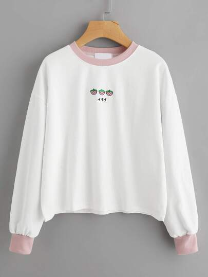 Contrast Trim Strawberry Embroidered Sweatshirt