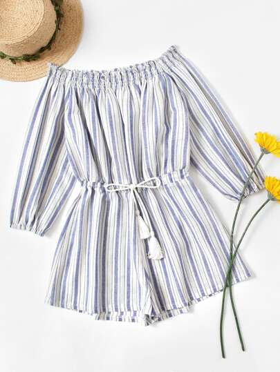 Off Shoulder Striped Fringe Drawstring Waist Romper