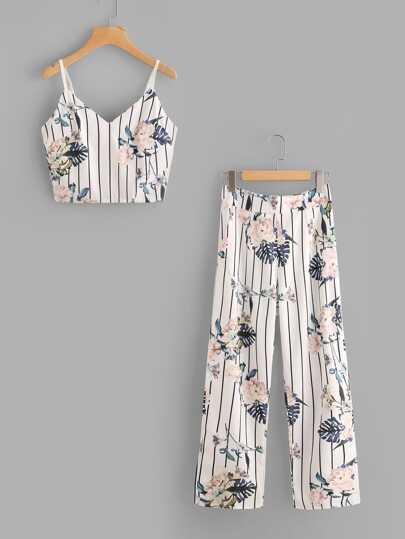 Botanical Print Pinstripe Cami Top With Pants